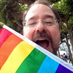 photo - Scalzi with Pride flag